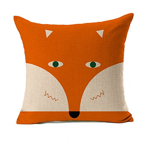 Orange Abstract Cute Fox Design Home Decor Design Throw Pillow Cover Pillow Case 18 x 18 Inch Cotton Linen for Sofa 51U0T42TmkL