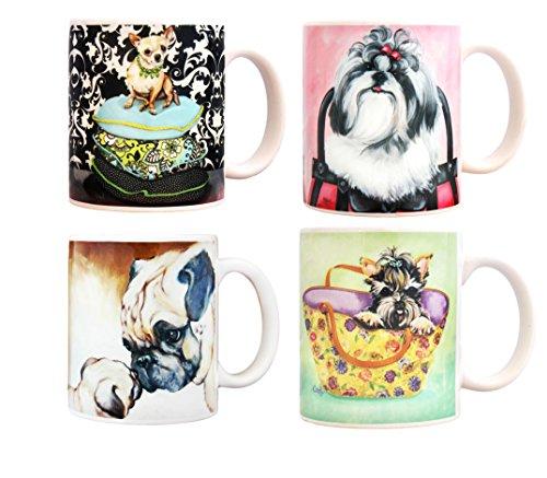 - 4 Pieces Ceramic Mug Set, Dog Collection, 4