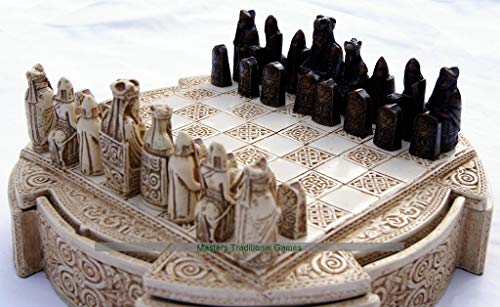 Masters Traditional Games Isle of Lewis Compact Chess Set - 9 inches, Cream Cabinet (Chess Isle Of Lewis)