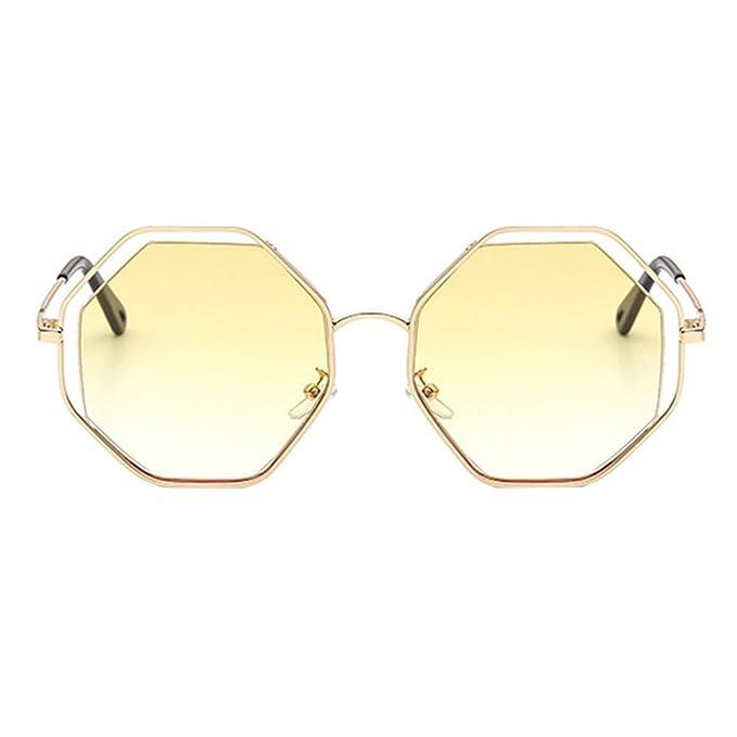 Deylaying Lunettes de soleil pour Femmes,Grande Creux Octogone Forme Cercle Métallique Rond Lunettes de soleil Retro Vintage UV400-Etui & Chiffon