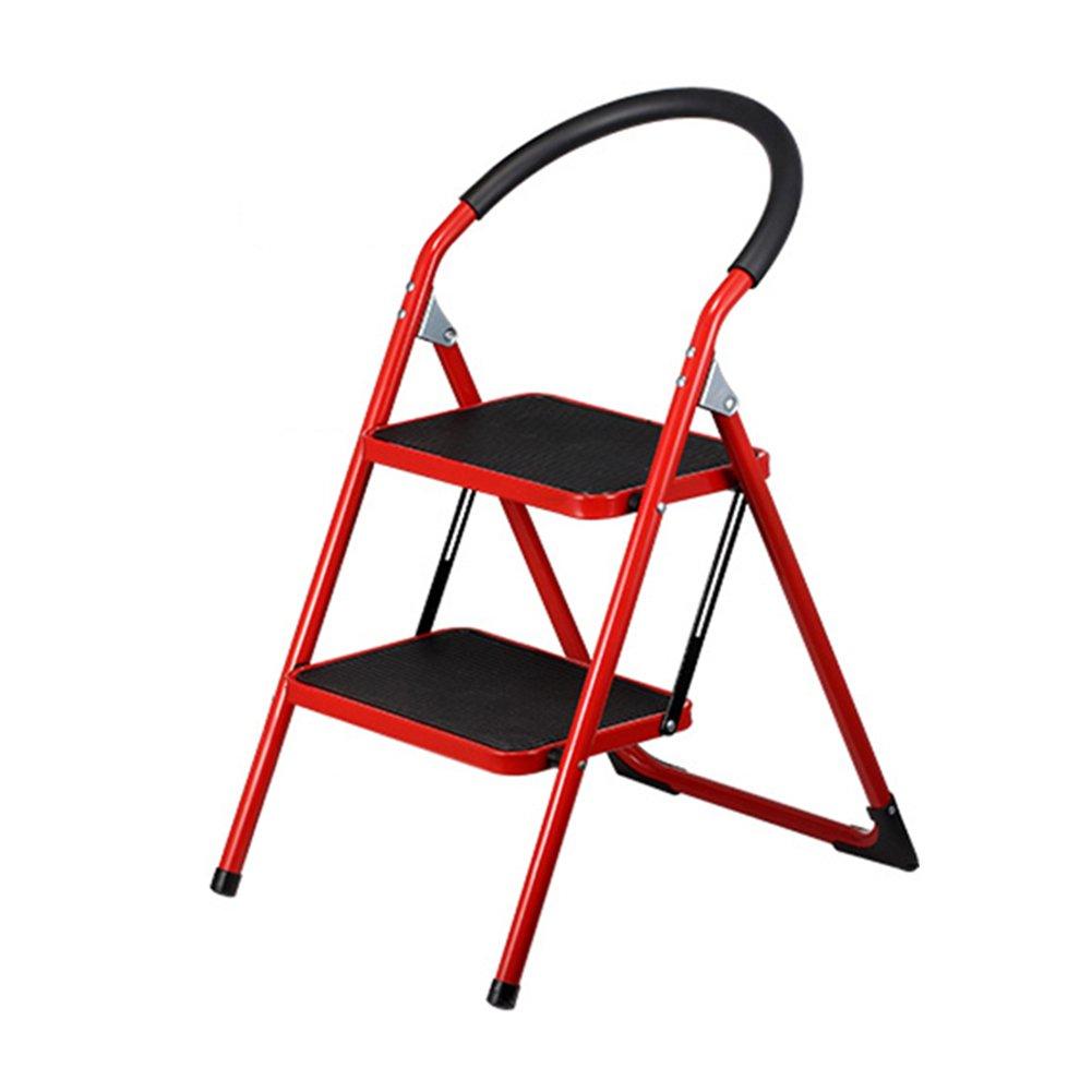 LXLA- 子供のための手すり厚手2ステップスツールと家庭用折りたたみ梯子スツール、アダルトノンスリップポータブルフットスツールインスタント高さ48cm (色 : Red) B07FSWTTGR  Red
