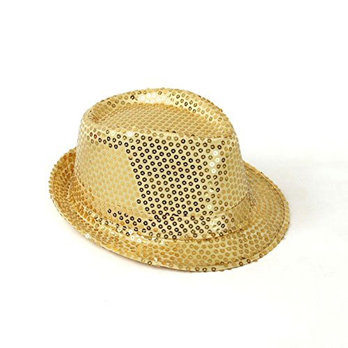 Idopy Unisex Adults Funny Paillette Sequined Fedora Hat Gold