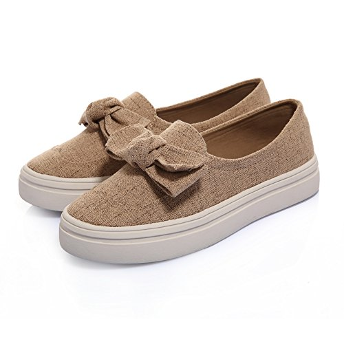 Balamasa Dames Spun Goud Bowknot Platform Amerikaanse Muffin Buttom Zacht Materiaal Pumps-schoenen Abrikoos
