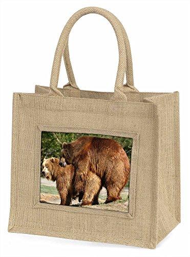 Advanta Grizzly Bears in Love Große Einkaufstasche/Weihnachten Geschenk, Jute, beige/natur, 42x 34,5x 2cm