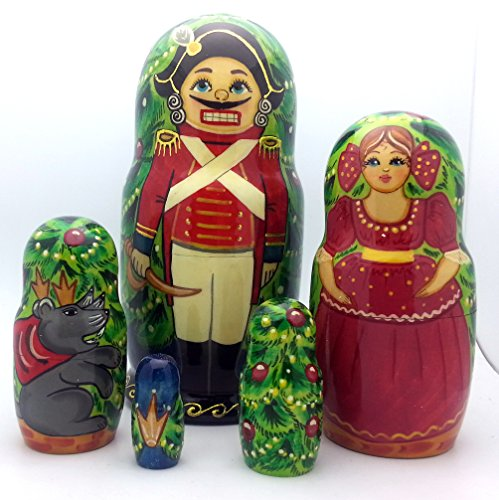 Nesting dolls Russian Hand Carved Hand Painted 5 piece Set /NUTCRACKER fairy tale / ballet