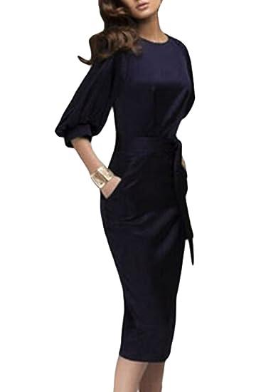 Vintage 1940 Obispo Mujer Elegante Vestido De Verano con Selfbelt Manga Oficina Navy XS