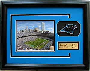 NFL Carolina Panthers Bank of America Stadium Framed Landscape Photo with Team Patch and Nameplate