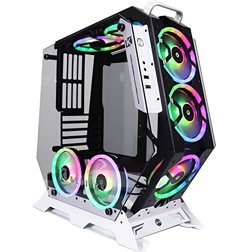 KEDIERS 5 PCS RGB Fans ATX Mid-Tower PC Gaming Case Open Computer Tower Case – USB3.0 – Remote Control – 2 Tempered…