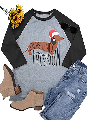 Okvpajdo Women's Christmas Raglan T-Shirt Dachshund Through The Snow Holiday Tee T Shirt Tunic Tops