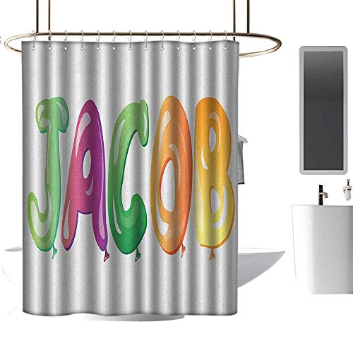 """Qenuan Polyester Shower Curtain Jacob,Balloon Font Design Widespread Traditional Male Name Cheerful Digital Boyish Design, Multicolor,for Bathroom Showers, Stalls and Bathtubs 54""""x72"""""""