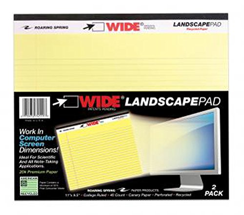 """Roaring Spring WIDE Landscape Pad, 11"""" x 9.5"""", 40 Lined sheets, Canary, 2/pack"""