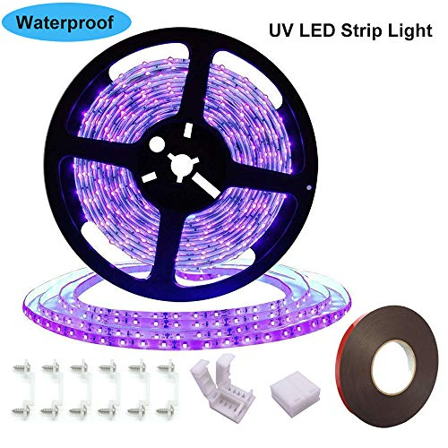 UV Black Light Strip, Ultraviolet led Strip Lights 16.4Ft/5M 300 Units Lamp Beads, IP65 Waterproof Purple Light for Dance Party, Body Paint, Night Fishing, Work with 12V 2A Power Supply(Not Include)