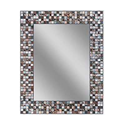 "Headwest Earthtone Copper-Bronze Mosaic Tile Wall Mirror, 24 inches by 30 inches, 24"" x 30"" - Frameless Rectangular Design Creates Clean, Modern Lines Hand-Crafted With Espresso, Charcoal And Grey Color Scheme For An Artistic Addition To Your Bathroom Decor Simulated Mosaic Tile Border Adds A Stylish Textured Touch - bathroom-mirrors, bathroom-accessories, bathroom - 51U0UZHXmHL. SS400  -"