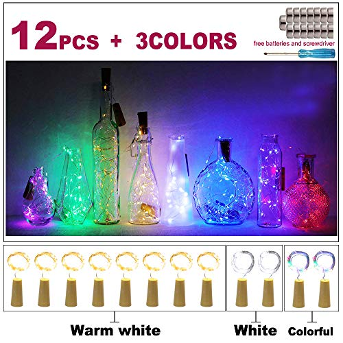 APONUO Wine Bottle Lights with Cork 12 Packs, 20 LED 6.5ft Battery Operated LED Cork Shape Silver Copper Wire Colorful Mini String Lights for DIY, Party,Wedding and Indoor Decorations (Multi Color)