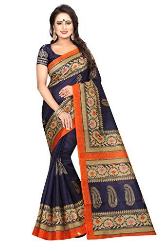 Shonaya Women`S Bhagalpuri Silk Printed Saree with Unstitched Blouse Piece (Navy) by Shonaya