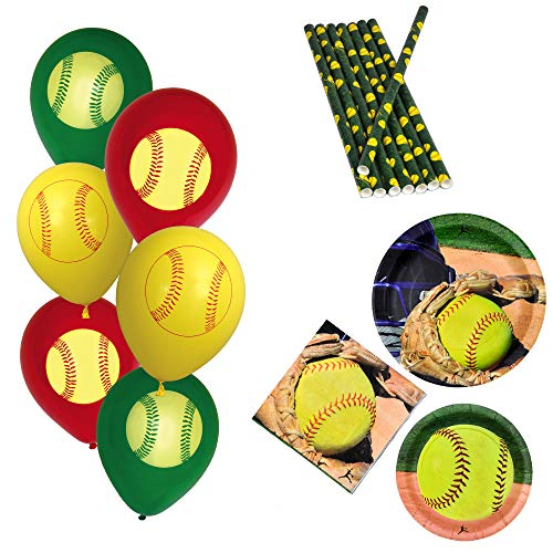 Havercamp Girl's Fastpitch Dinnerware Set | Dinner & Dessert Plates, Luncheon Napkins, Balloons, Straws | Great for Sports Themed Event, Victory Party, Varsity Banquet, Picnic, Athlete's Birthday ()