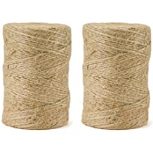 600Feet Jute Rope Durable Twine String for Packing and Art Craft(2pcs x 300feet)