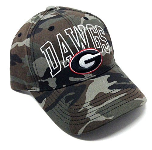 NCAA Wide Out Grey Camo Adjustable Hat (University of Georgia - ()