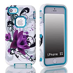 SUPWISER-03AKUAN 3-in-1 Hybrid Back Case Cover Fit For iPhone 5G 5S with Stylus Pen,Screen Protector and Cleaning Cloth
