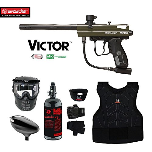 MAddog Kingman Spyder Victor Beginner Protective HPA Paintball Gun Package - Olive