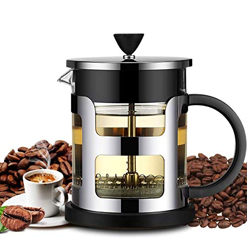 French Press Coffee Maker, FlatLED Coffee/Tea Maker, 304 Grade Stainless Steel Filter, 3 Level Filtration System, Heat Resistant High Borosilicate Glass, Protecting Black Base & handle (20 oz)