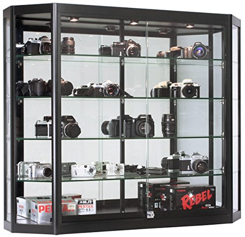 Displays2go Black Glass Wall Hanging Store Case, Aluminum, Tempered Glass Shelves – Black (WC4712LEDB) by Displays2go
