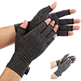 Arthritis Gloves by Duerer, Compression Gloves for RSI, Carpal Tunnel, Rheumatiod, Tendonitis, Fingerless Hand Thumb, Small Medium Large XL for Pain Relief Women Men(Black, Small)