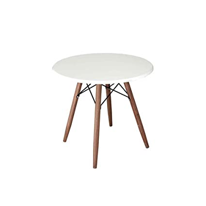 Tavolino tavolo tondo bianco 60x 55 cm in metallo con piano e gambe ...