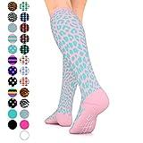 Go2 Fashion Compression Socks for Men & Women 15-20 mmHg Athletic Running Socks for Nurses Travel Medical Graduated Nursing Compression Stocking Sport Sock (PinkTurquoiseLeopard,M)