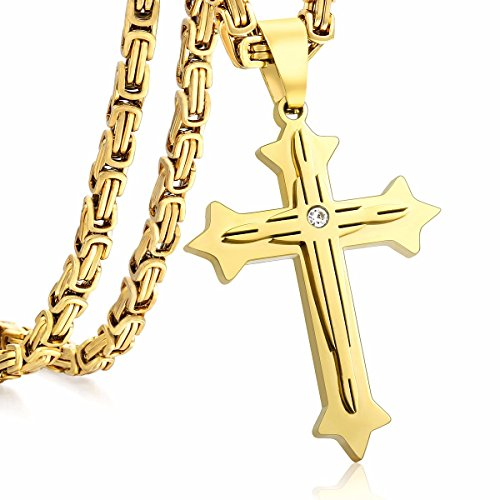 Trendsmax Mens Chain Boys Stainless Steel Cross Pendant Necklace 5mm Byzantine Necklace 28inch -