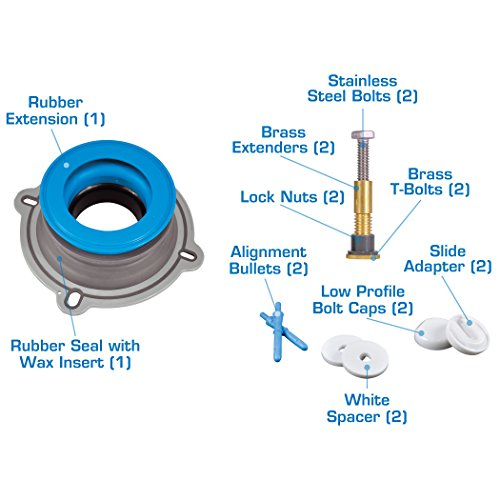 Danco 10879X All-in-One Installation Kit with Perfect Seal Toilet Wax Ring & Zero Cut Bolts, Blue and Gray, 1-Pack by Danco (Image #3)