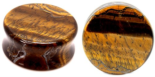 Tigers Eye Organic Stone Ear Plugs Gauges Sold in Pairs (14mm- 9/16 inch) (Eye Gauge)