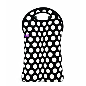 BUILT NY 2-Bottle Neoprene Wine/Water Bottle Tote, Big Dot Black & White
