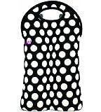 BUILT NY 2-Bottle Neoprene Wine/Water Bottle Tote, Big Dot Black & White
