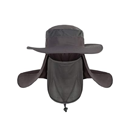 0f3fe661429 TJW Unisex Sun Hat Wide Brimmed UV Protection Outdoor Fishing Cap with  Removable Flaps (Dark