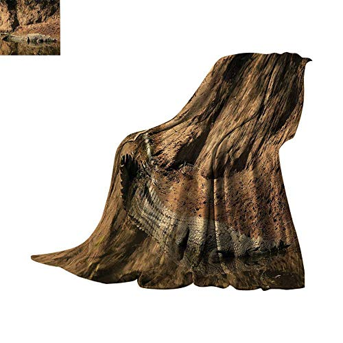 - Custom homelife Lightweight Blanket Wildlife Decor,Nile Crocodile Swimming in The River Rock Cliffs Tanzania Hunter Geography,Brown Tan Oversized Travel Throw Cover Blanket Bed or Couch 70