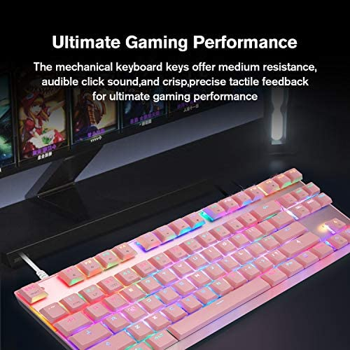 MOTOSPEED Professional Gaming Mechanical Keyboard RGB Rainbow Backlit 87 Keys Illuminated Computer USB Gaming Keyboard for Mac & PC Pink 51U0XdcRgKL