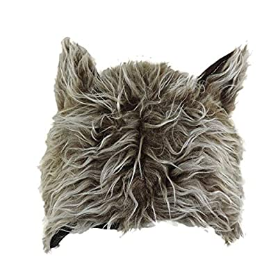 Novelty Furry Wolf Ear Hat Grey, Brown: Clothing