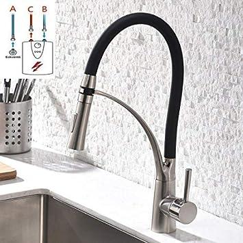 GD Niederdruck Wasserhahn Küche Schwarz Küchenarmatur Spüle Armatur Küche  Küchenarmatur mit Brause