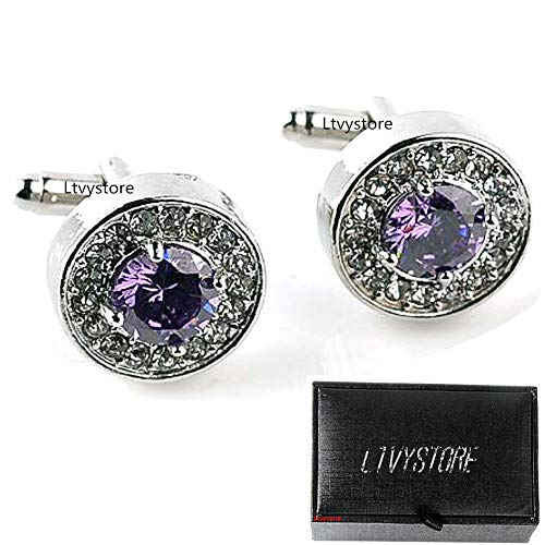 Round Crystal Cufflinks (Luxury Puple Crystal White Rhinestones Round Cufflinks for Women Shirt, Ltvystore Jewelry Trendy Geometric Cuff Links Buttons with Box, Great Idea for Christmas/Valentine's Day)