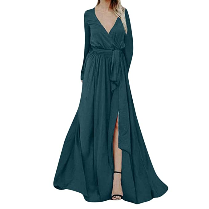 f3dce2bb44ec TIMEMEANS Womens Jumpsuit Fashion Chiffon Long Sleeve Deep V Neck Long  Rompers Green