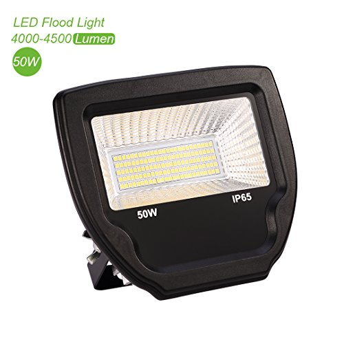 ProGreen 50W Super Bright Outdoor LED Flood Lights, 4200 Lumen, 500W Halogen Bulb Equivalent, IP65 Waterproof, Neutral White, 4000K, Security LED Floodlight (50W, 4000K)