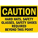 "SmartSign 3M Engineer Grade Reflective Sign, Legend ""Caution: Hard Hats/Safety Glasses/Shoes Required"", 7"" high x 10"" wide, Black on Yellow"