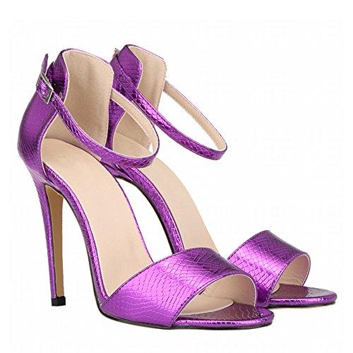 Meijunter Dames Femmes Été Crocodile Modèle Peep Toe Talons Hauts Boucle Sandale Chaussures DPMyCgcxF