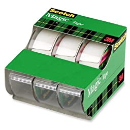 Scotch Magic Tape, Dispensered Rolls, 3/4 x 300 Inches, 6 Pack (3105)