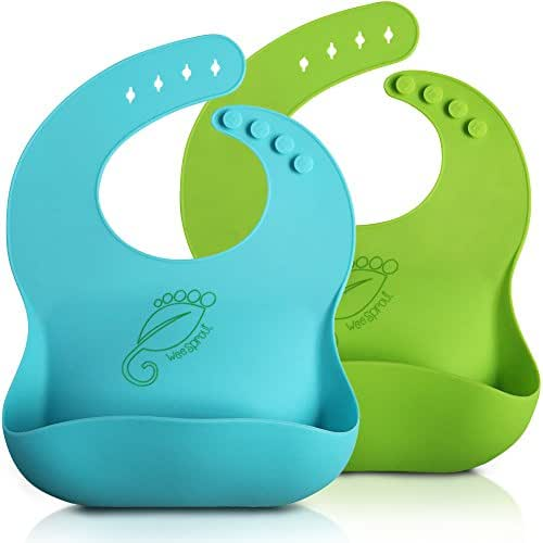WeeSprout Silicone Bib | Baby & Toddler 2 Set | Keep Your Messy Kids Clean & Happy with Comfy, Adjustable, Waterproof, Wide Pocket Girl & Baby Boy Bibs That Stay Open, Catch The Mess & Rinse Spotless