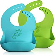 WeeSprout Waterproof Silicone Baby Bibs - Set of 2 - Quick and Easy to Clean - Silky Soft & Comfortable for Boys & Girls - Wide Pocket Stays Open and Catches Everything - Adjustable and Toddler Proof