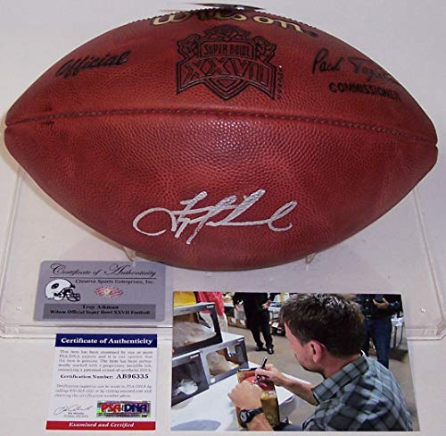 (Troy Aikman Autographed Hand Signed Super Bowl 27 XXVII Official Wilson NFL Leather Football -)