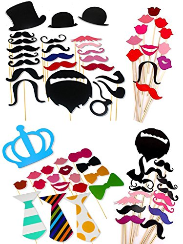 60 Pieces Photo Booth Props Kit DIY Dress-up Accessories Party Favor for Wedding Birthday Party Graduation Photobooth, Costume Accessories with Mastache, Hats, Glasses & (60 Dress Up Costumes)