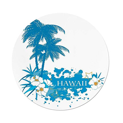 Polyester Round Tablecloth,Hawaiian Decorations,Palm Trees Tropical Plants Flowers and Butterflies Silhouette Monochrome Artwork,Aqua White,Dining Room Kitchen Picnic Table Cloth Cover,for Outdoor In